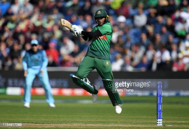 Shakib Al Hasan of Bangladesh plays a shot during the Group Stage match of the ICC Cricket World Cup 2019 between England and Bangladesh at Cardiff...