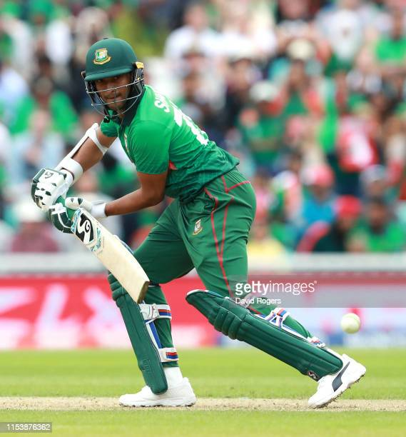 Shakib Al Hasan of Bangladesh plays the ball to the boundary during the Group Stage match of the ICC Cricket World Cup 2019 between Bangladesh and...