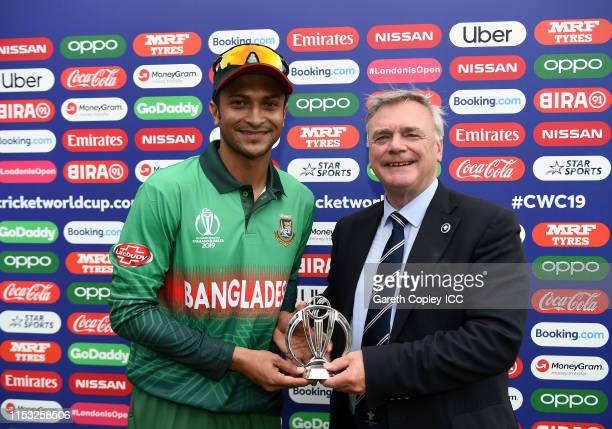 Shakib Al Hasan of Bangladesh poses after being named man of the match during the Group Stage match of the ICC Cricket World Cup 2019 between South...