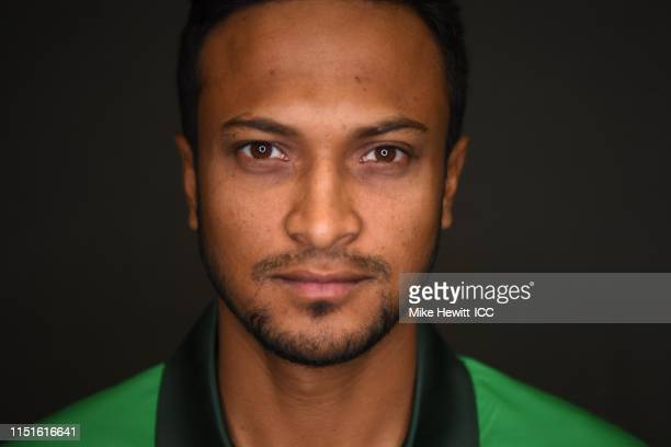 Shakib Al Hasan of Bangladesh poses for a portrait prior to the ICC Cricket World Cup 2019 at the Park Plaza Hotel on May 25 2019 in Cardiff Wales