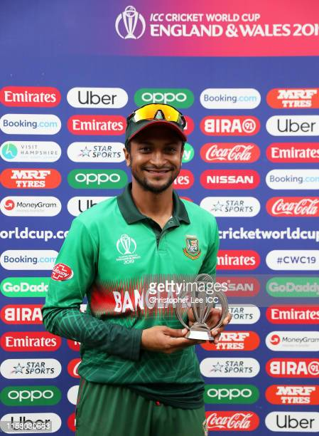Shakib Al Hasan of Bangladesh poses with the Man of the Match award during the Group Stage match of the ICC Cricket World Cup 2019 between Bangladesh...