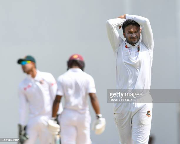 Shakib Al Hasan of Bangladesh reacts during day 2 of the 1st Test between West Indies and Bangladesh at Sir Vivian Richards Cricket Ground North...