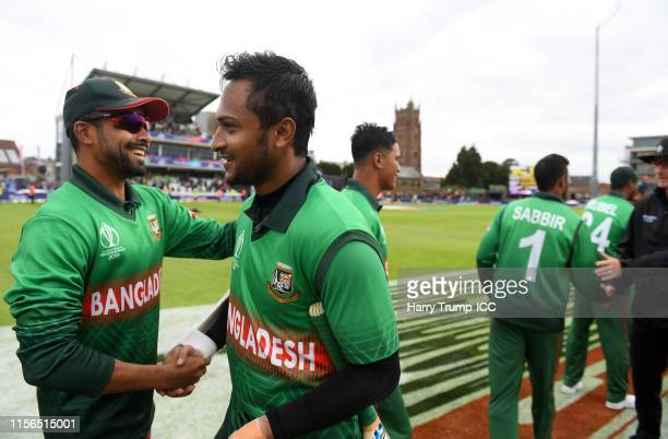 Shakib Al Hasan of Bangladesh shakes hands with of Bangladesh after scoring an unbeaten 124 during the Group Stage match of the ICC Cricket World Cup...