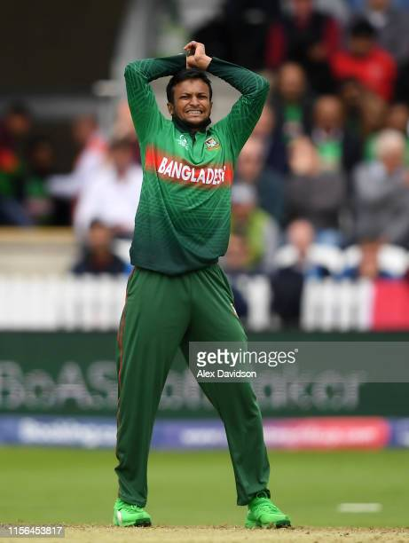 Shakib Al Hasan of Bangladesh shows dejection during the Group Stage match of the ICC Cricket World Cup 2019 between West Indies and Bangladesh at...