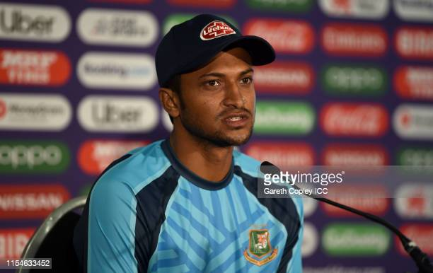 Shakib Al Hasan of Bangladesh speaks to the media during a press conference after the Group Stage match of the ICC Cricket World Cup 2019 between...