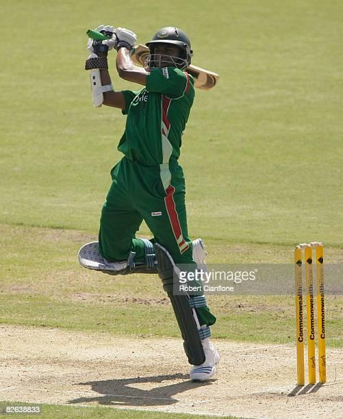 Shakib Al Hasan of Bangladesh square cuts during the second one day international match between Australia and Bangladesh held at TIO Stadium on...