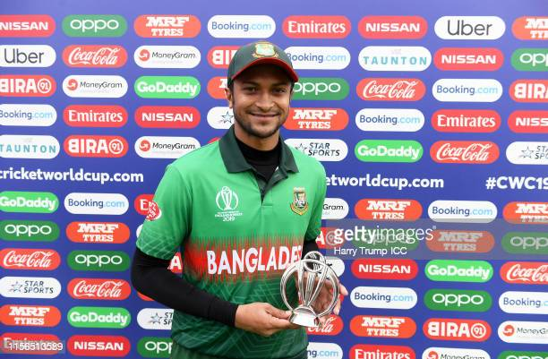 Shakib AlHasan of Bangladesh poses after being named player of the match during the Group Stage match of the ICC Cricket World Cup 2019 between West...