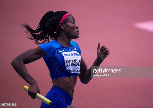 Shakima Wimbley of the USA during the Women's 4x400m Final on Day 4 of the IAAF World Indoor Championships at Arena Birmingham on March 4 2018 in...
