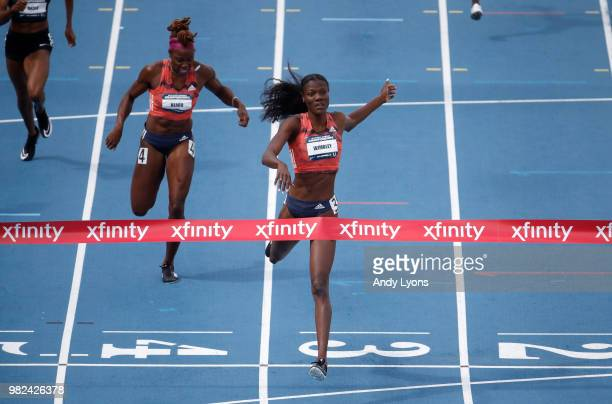 Shakima Wimbley runs to victory in the Womens 400 Meter Final during day 3 of the 2018 USATF Outdoor Championships at Drake Stadium on June 23 2018...