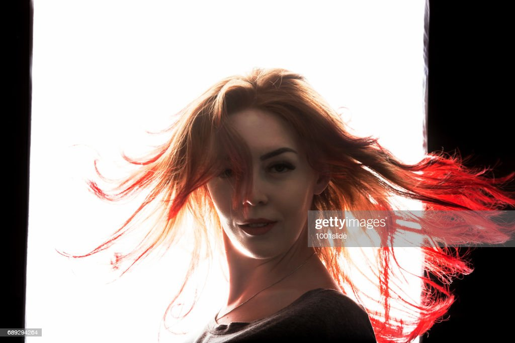 shaking red hairs - flame shape : Stock Photo