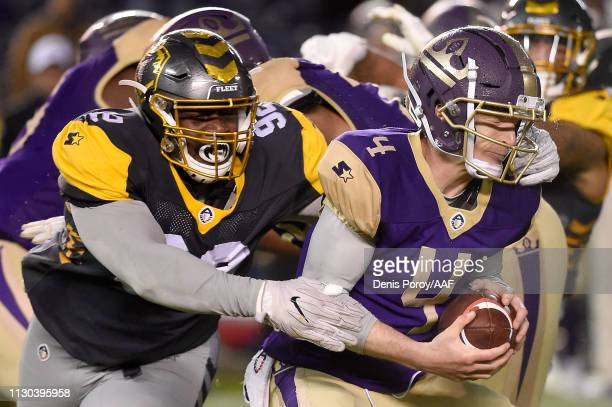 Shakir Soto of the San Diego Fleet sacks Matt Simms of the Atlanta Legends in the second quarter during the Alliance of American Football game at...