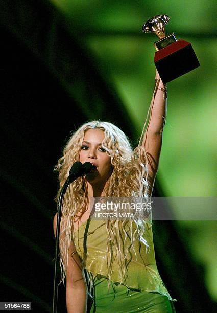 Shakira accepts her Grammy for Best Female Pop Vocal Performance at the first annual Latin Grammy Awards at the Staples Center in Los Angeles 13...