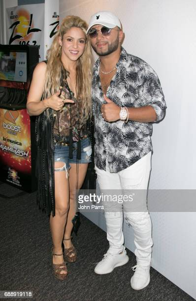 Shakira and Alex Sensation during her visit SBS Studio to promote her latest album ÒEl Dorado at SBS Studios on May 26 2017 in Miami Florida
