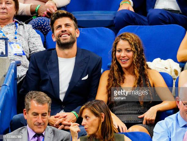 Shakira and Gerard Pique cheer on Rafael Nadal at the 2019 US Open on September 04, 2019 in New York City.
