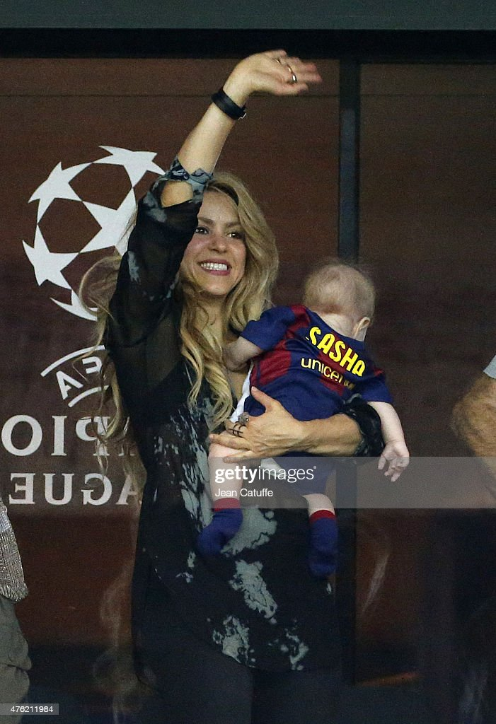 Shakira and her younger son Sasha Pique celebrate the victory after the UEFA Champions League Final between Juventus Turin and FC Barcelona at Olympiastadion on June 6, 2015 in Berlin, Germany.