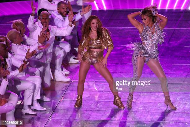 Shakira and Jennifer Lopez perform during the Pepsi Super Bowl LIV Halftime Show at Hard Rock Stadium on February 02 2020 in Miami Florida