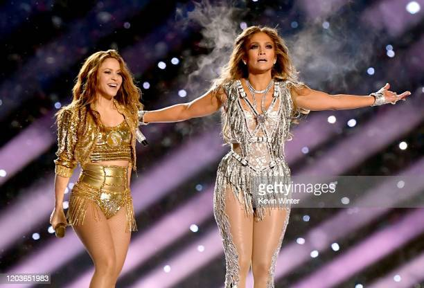 Shakira and Jennifer Lopez perform onstage during the Pepsi Super Bowl LIV Halftime Show at Hard Rock Stadium on February 02, 2020 in Miami, Florida.