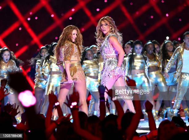 Shakira and Jennifer Lopez perform onstage during the Pepsi Super Bowl LIV Halftime Show at Hard Rock Stadium on February 02 2020 in Miami Florida