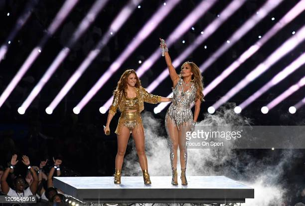 Shakira and Jennifer Lopez performs onstage during the Pepsi Super Bowl LIV Halftime Show at Hard Rock Stadium on February 02 2020 in Miami Florida