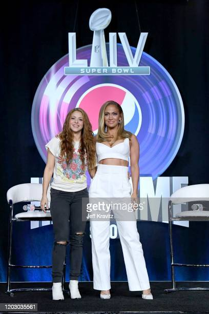 Shakira and Jennifer Lopez speak onstage during the Pepsi Super Bowl LIV Halftime Show Press Conference at Hilton Miami Downtown on January 30 2020...