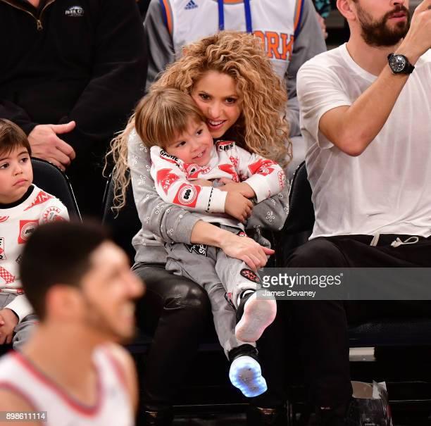 Shakira and Sasha Pique Mebarak attend the New York Knicks Vs Philadelphia 76ers game at Madison Square Garden on December 25 2017 in New York City