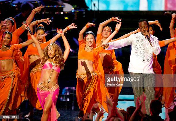 Shakira and Wyclef Jean perform Hips Don't Lie during 2006 MTV Video Music Awards Show at Radio City Music Hall in New York City New York United...