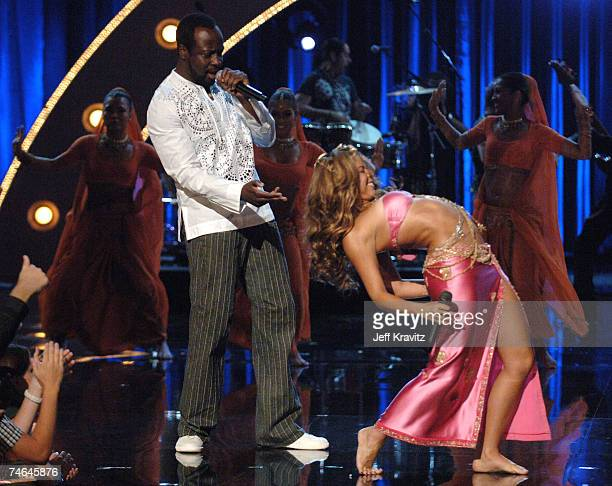 Shakira and Wyclef Jean performing Hips Don't Lie at the 2006 MTV Video Music Awards Show at Radio City Music Hall in New York City New York