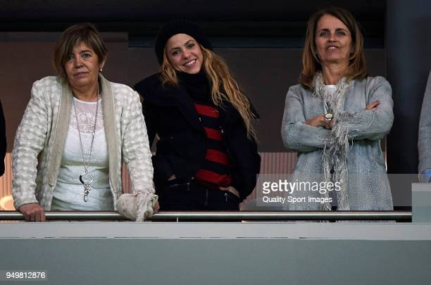 Shakira attend at the Spanish Copa del Rey Final match between Barcelona and Sevilla at Wanda Metropolitano on April 21 2018 in Madrid Spain