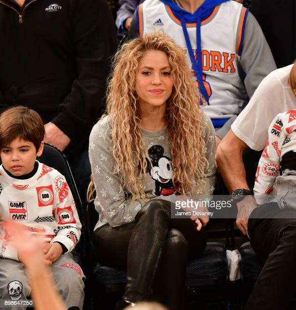 Shakira attends the New York Knicks Vs Philadelphia 76ers game at Madison Square Garden on December 25 2017 in New York City
