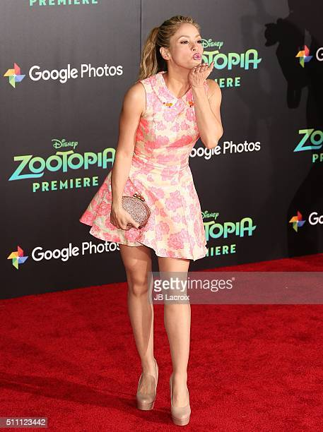 Shakira attends the premiere of Walt Disney Animation Studios' 'Zootopia' held at the El Capitan Theatre on February 17 2016 in Hollywood California