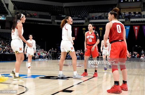 Shakira Austin of the Maryland Terrapins celebrates during the game against the Ohio State Buckeyes during the Championship game of Big Ten Women's...