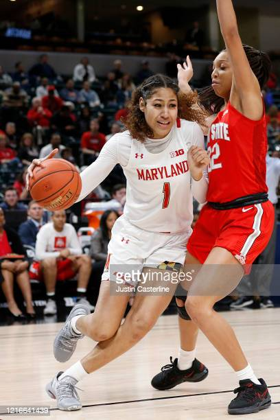 Shakira Austin of the Maryland Terrapins drives to the basket in the game against the Ohio State Buckeyes during the Big Ten Women's Basketball...