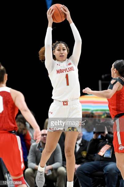 Shakira Austin of the Maryland Terrapins grabs a rebound against the Ohio State Buckeyes during the Championship game of Big Ten Women's Basketball...