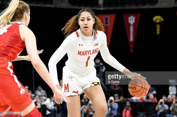 Shakira Austin of the Maryland Terrapins handles the ball against the Ohio State Buckeyes during the Championship game of Big Ten Women's Basketball...
