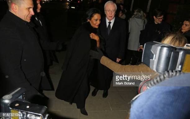 Shakira Caine and Sir Michael Caine arrive at the Dunhill GQ preBAFTA Filmmakers Dinner and Party Cohosted by Andrew Maag Dylan Jones at Bourdon...