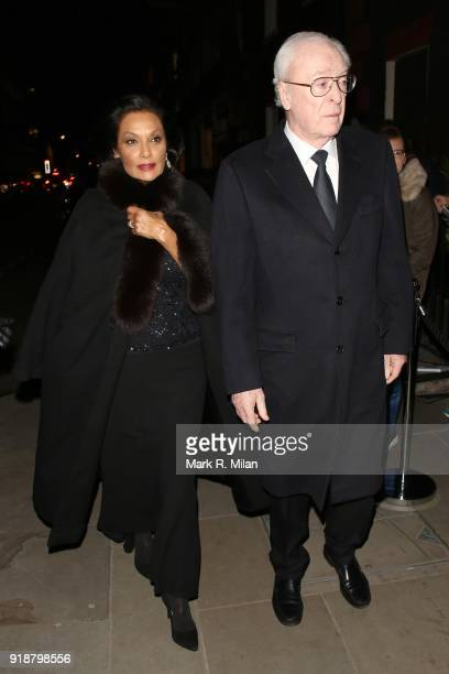 Shakira Caine and Sir Michael Caine attending the Dunhill and Dylan Jones PreBAFTA Filmmakers Dinner on February 15 2018 in London England