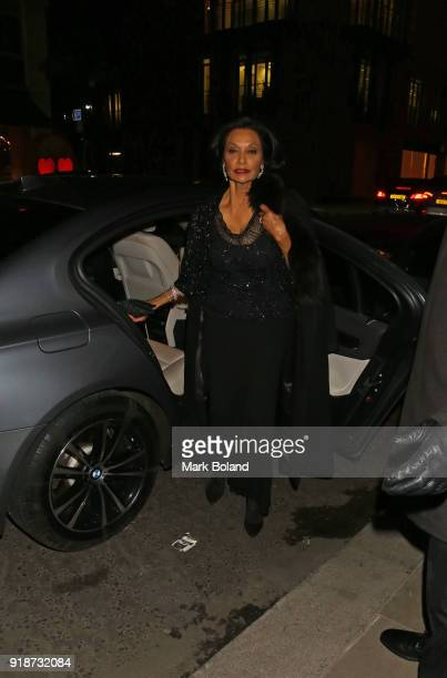 Shakira Caine arrives at the Dunhill GQ preBAFTA Filmmakers Dinner and Party Cohosted by Andrew Maag Dylan Jones at Bourdon House on February 15 2018...