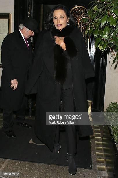Shakira Caine leaving Scott's restaurant on January 24, 2017 in London, England.