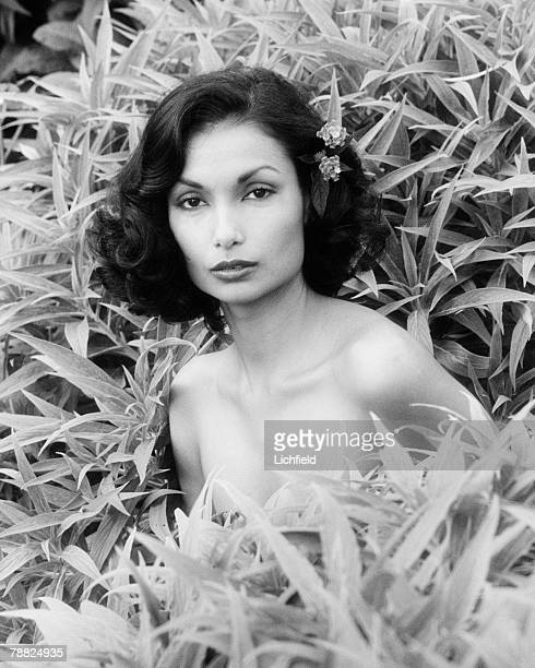 Shakira Caine wife of actor Sir Michael Caine a clothes and costume jewellery designer in the garden of their home in Beverly Hills USA on 8th...