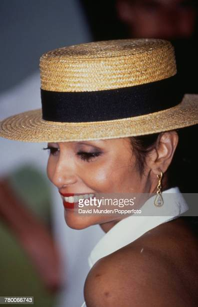 Shakira Caine wife of British actor Michael Caine at the first match to be played at John Paul Getty Jr's new cricket ground on his Wormsley Park...