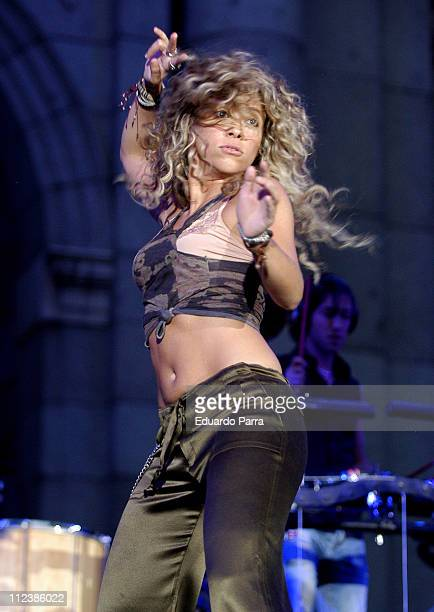 Shakira during Shakira Performs Live in Support of Madrid's Bid to the 2012 Olympic Games June 5 2005 at Puerta de Alcala in Madrid Spain