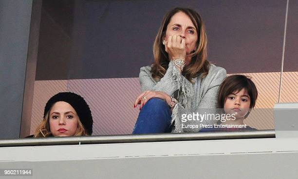 Shakira her son Milan Pique and Gerard Pique's mother Montserrat Bernabeu are seen at the Spanish Copa del Rey Final match between Barcelona and...