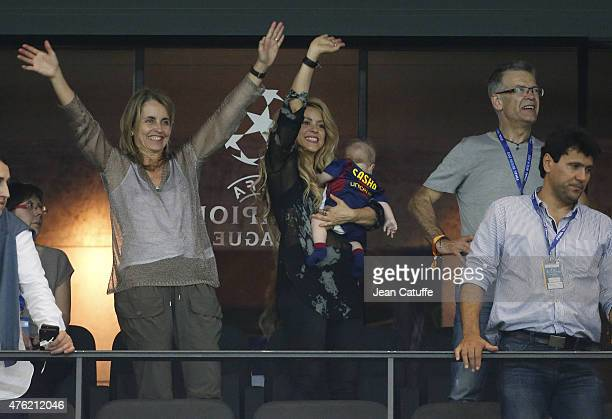 Shakira her younger son Sasha Pique and Pique's parents Montserrat Bernabeu and Joan Pique celebrate the victory after the UEFA Champions League...