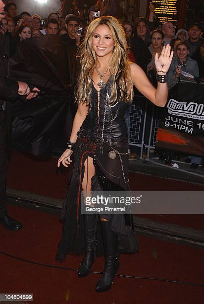 Shakira on the red carpet at the MMV Awards during MuchMusic Video Awards 2002 - Arrivals at Chum City Building in Toronto, Ontario, Canada.