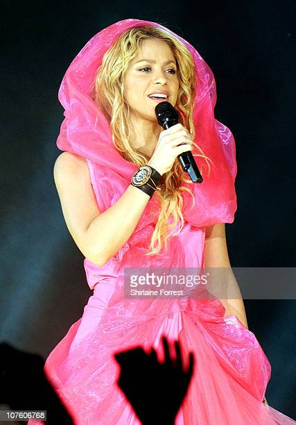 Shakira performs at MEN Arena on December 14, 2010 in Manchester, England.