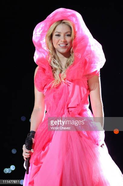 Shakira performs during the CocaCola Pop Festival 'Sale El Sol' World Tour at Foro Sol on April 2 2011 in Mexico City Mexico