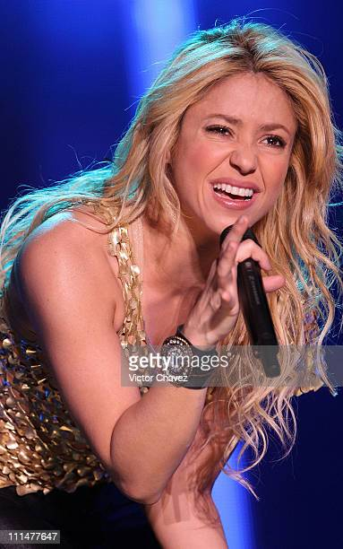 Shakira performs during the CocaCola Pop Festival Sale El Sol World Tour at Foro Sol on April 2 2011 in Mexico City Mexico