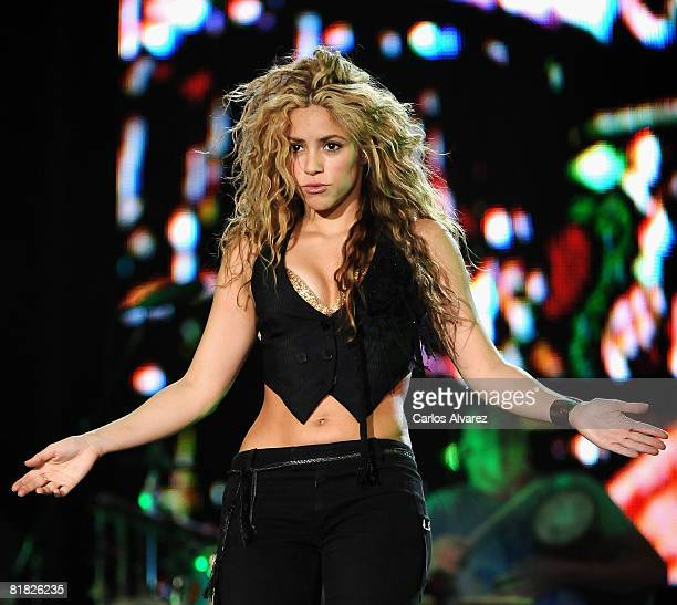 Shakira performs on stage at Rock in Rio Day 3 on July 04 2008 in Arganda del Rey in Madrid Spain