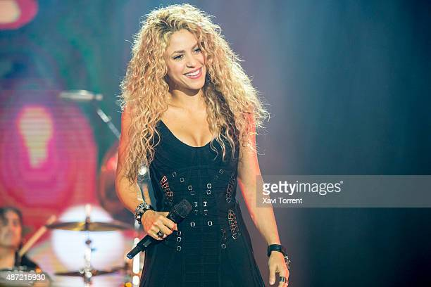 Shakira performs on stage during the concert of Mana at Palau Sant Jordi on September 6 2015 in Barcelona Spain