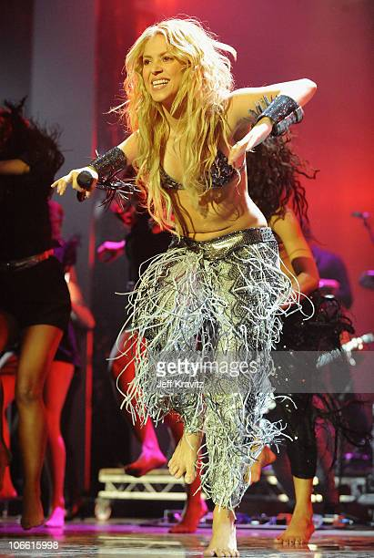 Shakira performs onstage during the MTV Europe Music Awards 2010 live show at La Caja Magica on November 7, 2010 in Madrid, Spain.
